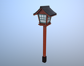 Red japanese lantern 3D asset game-ready