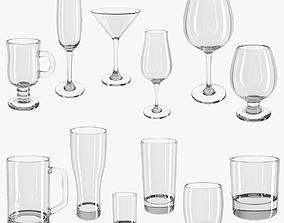 3D model Set of glasses - glass set