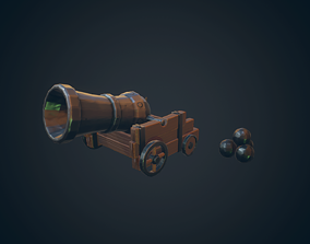 Pirate Cannon 3D model low-poly
