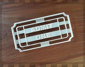 Admit 1 ticket cookie cutter 3D print model