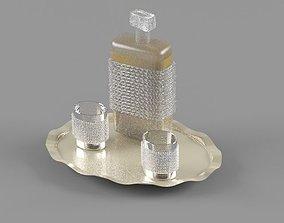 Whisky Set crystal bottle and glasses 3D
