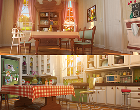 Cartoon Kitchen Dining Room 3D model