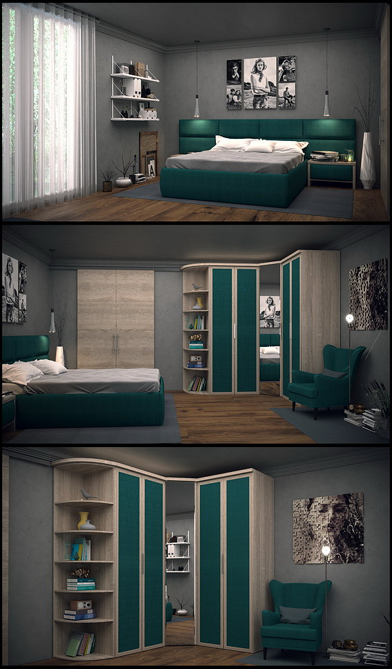 Industrial style bedroom interior