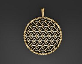 3D printable model life Flower of Life pendant