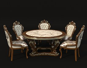 3D Classic Dinning Table Chair Set