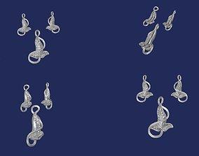 3D printable model lorien leaf pendant N earrings set