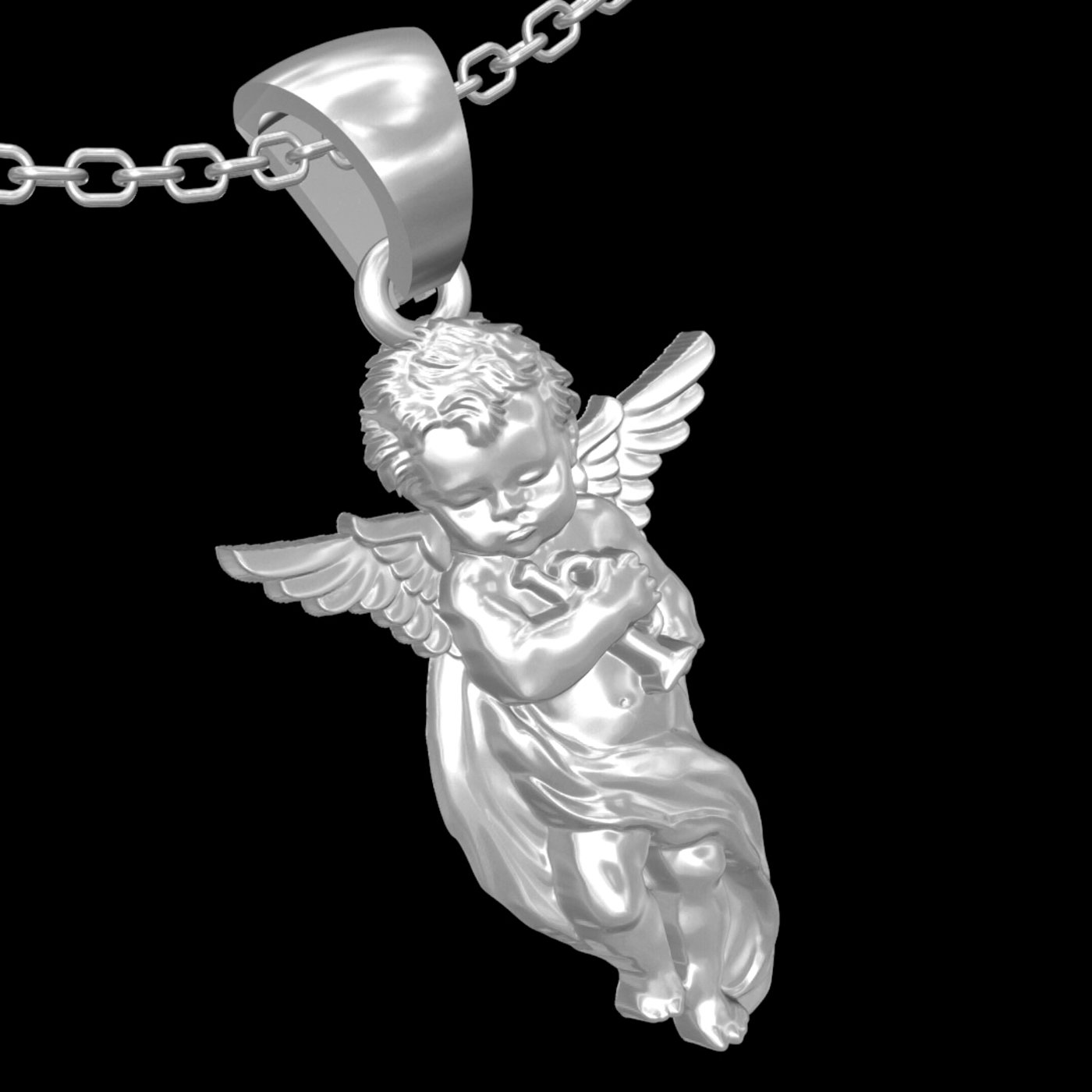 Baby Angel Trumpeter pendant jewelry gold necklace 3D print model