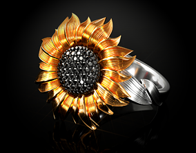 Ring SUNFLOWER 3D print model