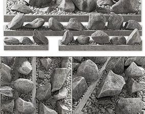 3D model Flowerbed pebble rock decor street