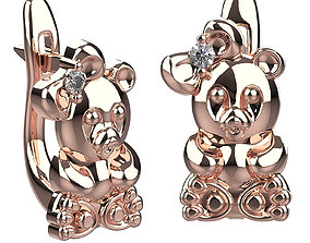 3D print model earrings panda girl