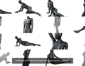Collection of female mannequins in various poses 3D model