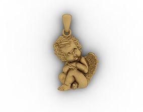 3D printable model baby angel pendant