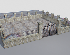 3D asset Stone fence wall pack 2