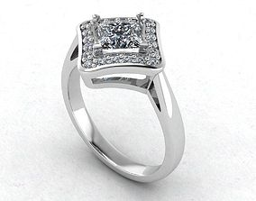 Princess Cut Diamonds Engagement Ring 3D printable model
