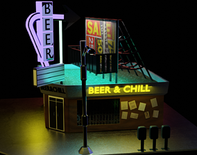 3D model low-poly building street