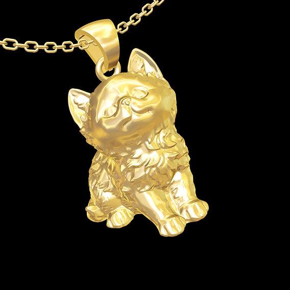 Fluffy kitten Sculpture pendant jewelry gold necklace 3D print model