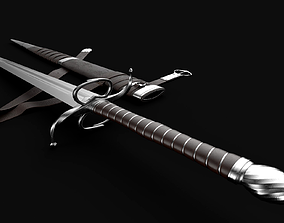 Longsword with scabbard and belt 3D asset
