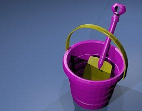 3D model Low poly Pail Shovel