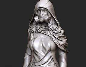 3D print model woman in gas mask stl and high poly