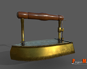 3D model Old smoothing iron-Brass