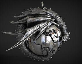 3D print model Dragon with earth Pendant