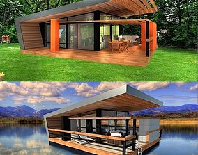 3D model modern house pavilion - 2 separate versions- 3
