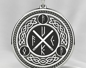 Silver Pendant with Ancient Foff Runes 3D print model
