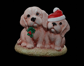 Christmas Dogs high resolution scan Low poly 3D asset 2