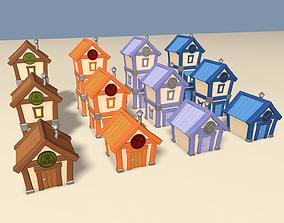 3D asset Cartoon Houses Four Element