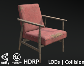 3D asset Soviet Armchair Lisek Red Damaged
