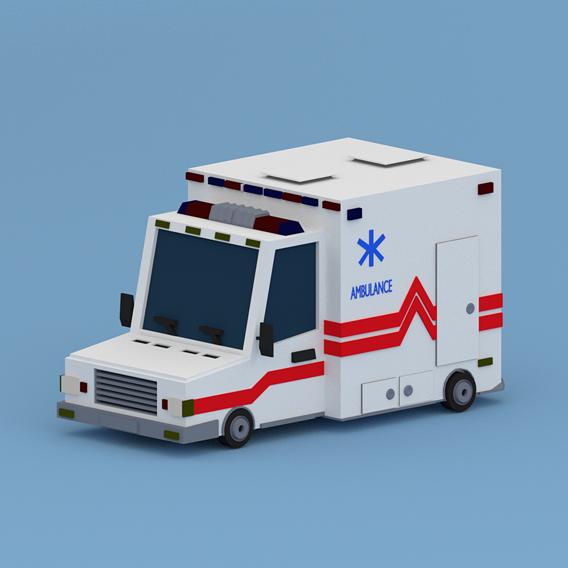 Cartoon Ambulance Low-poly