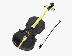 3D model Black Luxury Viola and Bow