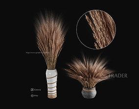 Decorative bouquet of wheat 3D
