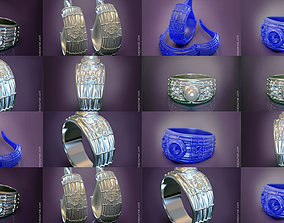 The Om mantra ring with pearl and earrings print models 3D