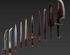game-ready Low Poly Low Res Sword Asset Pack