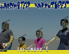 The Snork family on the beach 3D asset