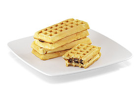 Waffles with filling 3D