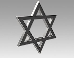 3D model David Star Engraved