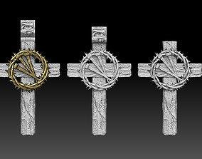 3D printable model jesus cross crown thorns pendant 2