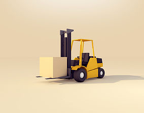 Cartoon Low Poly Forklift 3D model
