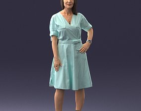 Woman in blue dress 0077 3D Print Ready