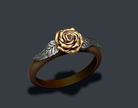 3D print model Rose ring leaf