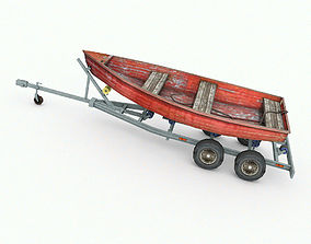 3D asset game-ready Boat trailer with boat