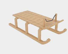 3D asset Wood Sledge