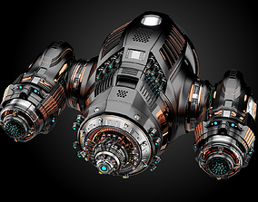 3D Sci-Fi Military Drone RIGGED