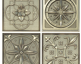 ornament Decorative panels - Set 4 3D