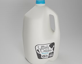 3D model Milk Jug with Professionally Designed Label and 1