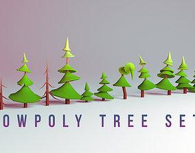 Low-poly Tree Set 3D model