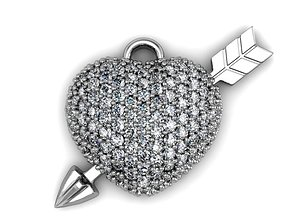HEART PENDANT WITH DIAMONDS 3D printable model
