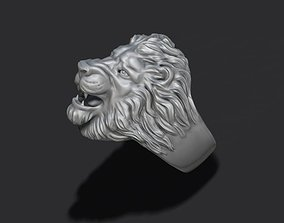 lion ring 3D print model diamond